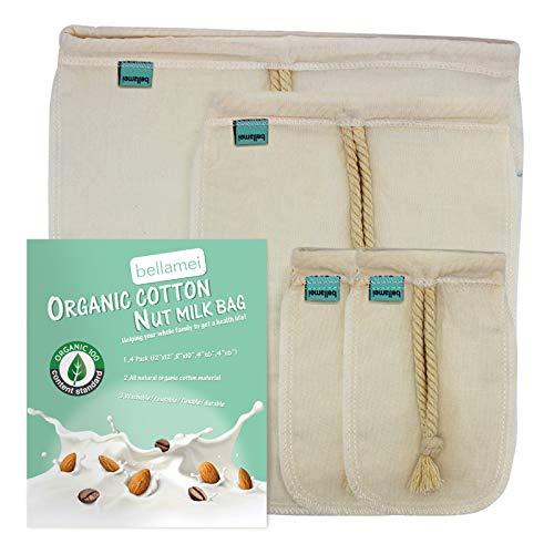 "Bellamei Nut Milk Bag Reusable 4 Pack Organic Cotton Food Strainer Colander Nut Bags for Almond Milk,Juice,Cold Brew Coffee,Tea,Yogurt,Cheese,Bone Broth,Sprouting (4 pack - 12""x12"" /8""x10"" /4""x6"")"