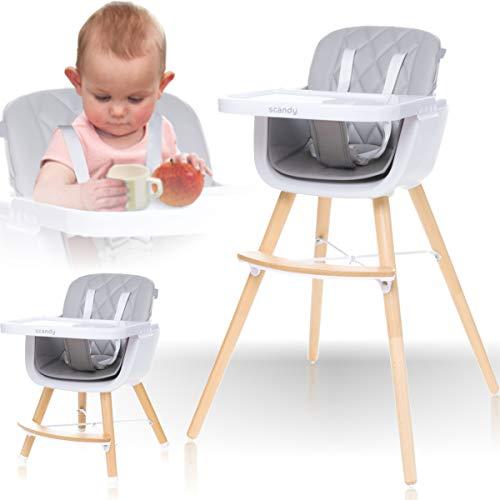 2IN1 Hochstuhl mit Beinen aus Holz 5 Punkt Sicherheitsgurte in PREMIUMQUALITÄT/Kinderhochstuhl/Babyhochstuhl/Kombihochstuhl (Hellgrau)
