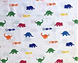 Queenwest 3pc Cotton Dinosaur Sheet Set, Colorful Dinosaurs Red Green Blue Orange on White (Twin)