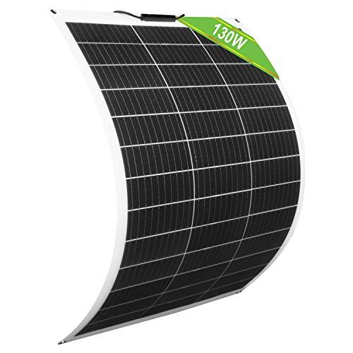 ECO-WORTHY 130 Watt 12 Volt flexibles monokristallines Solarpanel für Wohnmobile Wohnmobile Boote und mehr