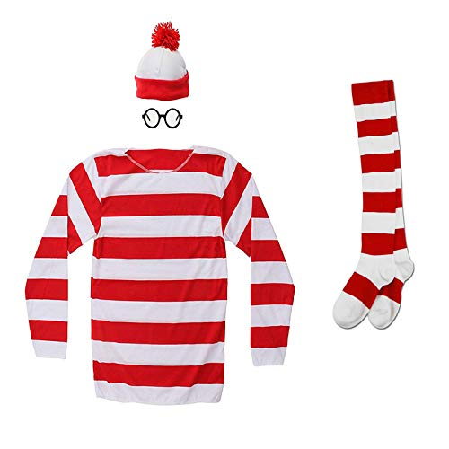 Hilary Ella Red&White Stripes Cosplay Costume,Halloween Costumes,Funny Sweatshirt Outfit Glasses Suits