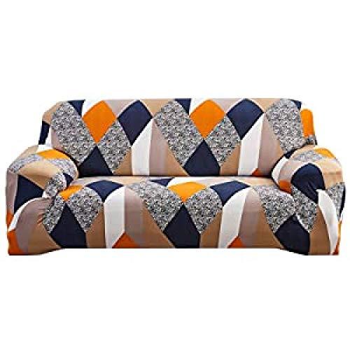 MAqiangaa Funda Elástica para Sofá;Funda Estampada para sofáAntideslizante Protector Cubierta de Muebles Funda Sillon Elastica Protector-Azul Blanco-2||2 plazas