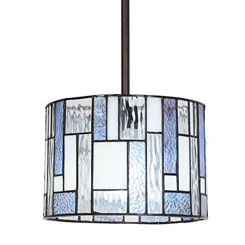 VINLUZ Tiffany Style 1 Light Wide Striped Art Glass Kitchen...