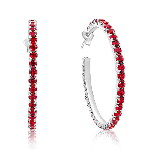 DTPSilver -Damen Creolen Ohrringe 925 Sterling Silber mit Österreichischer Kristall - Durchmesser 38 mm - Farbe : Light Siam Rot