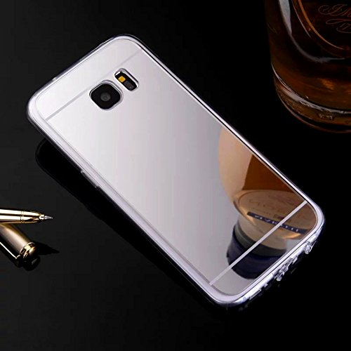 Hancda Housse Coque pour Samsung Galaxy S6, Etui Case Coque Miroir Cover pour Samsung Galaxy S6, Housse Silicone TPU Miroir Fine Luxe Antichoc Protection pour Samsung Galaxy S6,Argent