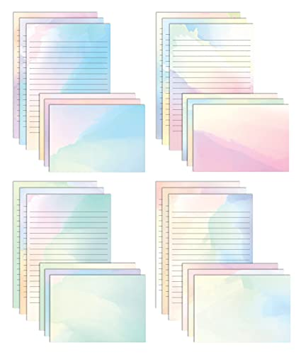 Mini Stationery Set, 100 Piece Set (50 Lined Watercolor Sheets + 50 Matching Envelopes), 5.5 x 8.25 inch, 12 Unique Designs, Double Sided Printing, One Side Lined Paper, by Better Office Products
