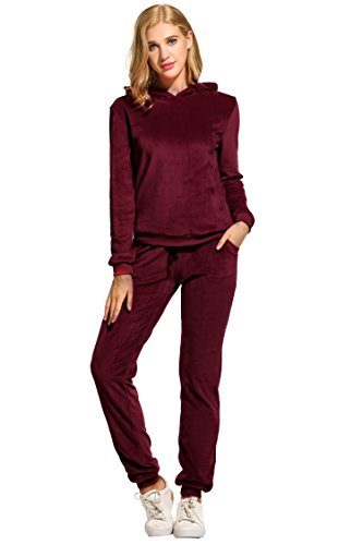 Hotouch Women's Velour Hoodie+Pant Tracksuit Sport Sweat Suit Set Wine Red XXL