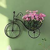 ZLHW Fahrrad Blumenkorb Wandkunst, Wandkunst Fahrrad Blumenkorb, Fahrrad Blumenkorb Wandbehang Skulpturen, Schmiedeeisen Wandbehang Fahrrad Dekor, für Wohnzimmer, Flur, Hof Wanddekoration