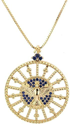 quanjiafu Necklace Necklace Round Blue Zirconium Holy Bird Pendant Trend Copper Gold-Plated Holy Eagle Necklace Trend Wear Accessories to Enhance Temperament for Women Men Gift Necklace Necklace