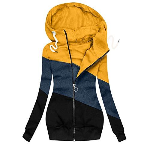 Tomwell Damen Sweatjacke Langarm Kapuzenjacke Reißverschluss Hoodie Lang Jacken Einfarbig Casual Farbblock Mantel Outwear Herbst Winter Pullover Sweatshirt Coat C Gelb 3XL