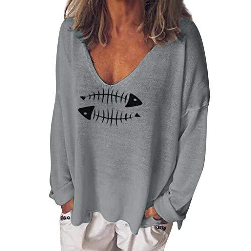 TYTUOO Frauen T-Shirt Baumwollmischung Lässige Bluse mit V-Ausschnitt und Animal-Print