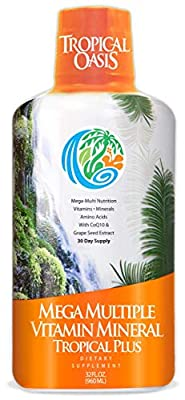 Tropical Oasis Mega Plus - Liquid Multivitamin and Mineral Supplement – Includes 85 Vitamins & Minerals, 20 Amino Acids + CoQ10, Grape Seed Extract & Organic Aloe Vera - 32oz, 32 Servings from Tropical Oasis