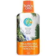 Tropical Oasis Mega Plus - Liquid Multivitamin and Mineral Supplement – Includes 85 Vitamins & Minerals, 20 Amino Acids + CoQ10, Grape Seed Extract & Organic Aloe Vera - 32oz, 32 Servings