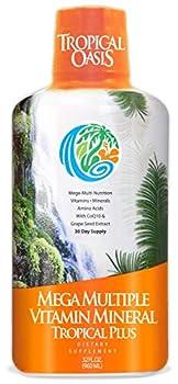 Tropical Oasis Mega Plus - Liquid Multivitamin and Mineral Supplement – Includes 85 Vitamins & Minerals 20 Amino Acids + CoQ10 Grape Seed Extract & Organic Aloe Vera - 32oz 32 Servings