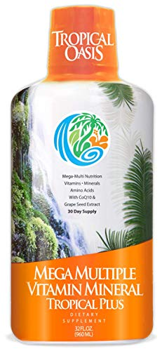 Tropical Oasis Mega Plus - Liquid Multivitamin and Mineral Supplement – Includes 85 Vitamins &...