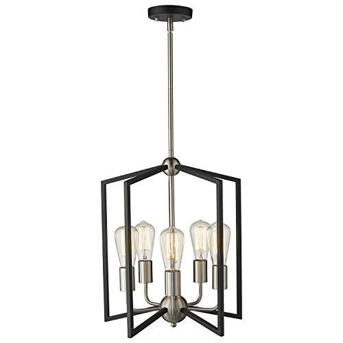 Zeyu 5-Light Foyer Chandelier, Industrial Pendant Hanging Light Fixture for Hallway Dining Room, Black and Satin Nickel Finish, ZJF14-5 SN+BK