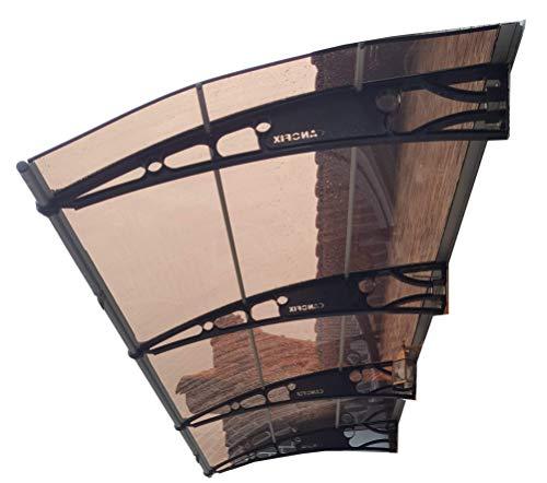 CANOFIX Door Canopy PC 7000W x 1500P / DIY Polycarbonate Cantilever Awning/Window Door Pathway Walkway Garden Shed Porch Patio (Black Bracket - Bronze Sheet)