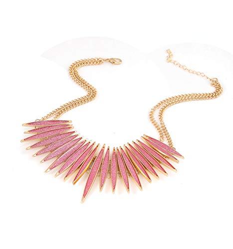 MOLOCH Sparkling Druzy Leaf Choker Necklace Fashion Gold-Tone Collar Necklace Bib Statement Chunky Tribal Necklace Woman Jewelry