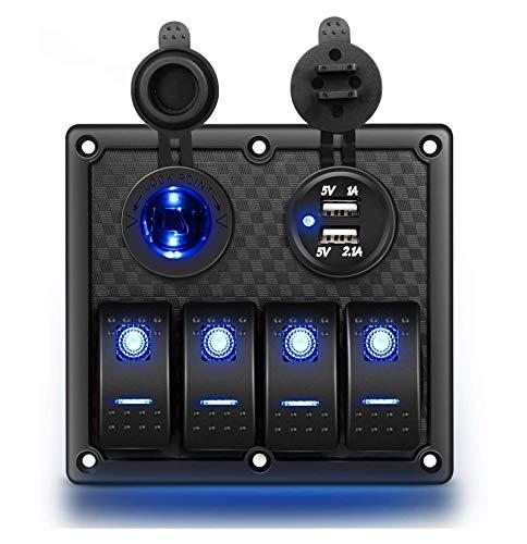 HAI 4 Panel de Interruptor de rockero de pandillas Panel de interruptores a Prueba de Agua a Prueba de Agua con Cargador USB y Enchufe de alimentación y Fusible DC 12V 24V Rocker Switch Panel