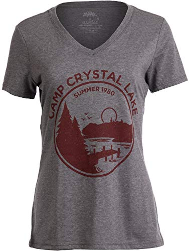 1980 Camp Crystal Lake Counselor | Funny 80s Horror Movie Fan Women Top T-Shirt-(Vneck,M)