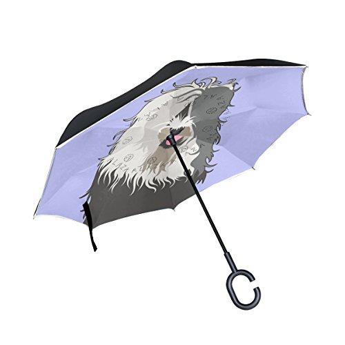 Guarda-chuva invertido de camada dupla para carros ALAZA My Daily Guarda-chuva reverso Old English Sheepdog à prova de vento UV para viagem ao ar livre