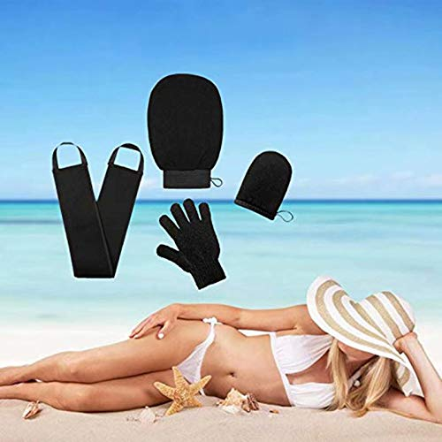 Doyeemei Kit applicateur de gants autobronzants 4 en 1 applicateur de gants autobronzants avec 2 tailles gant exfoliant exfoliant. applicateur de loti