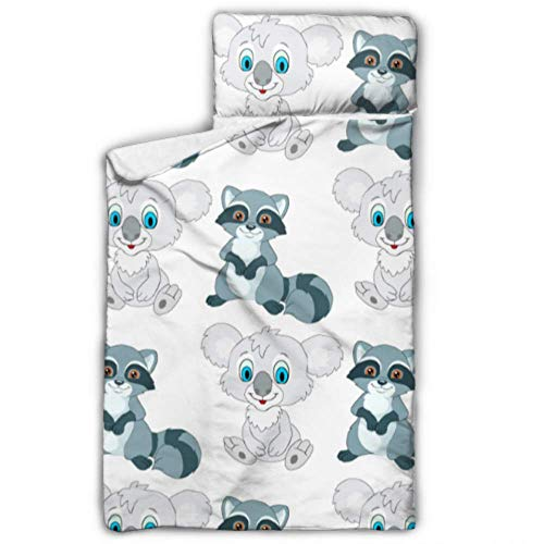 """WUTMVING Cute Cartoon Raccoon Kid Sleeping Bag Travel Sleeping Bag for Kids with Blanket and Pillow Rollup Design Great for Preschool Daycare Sleepovers 50""""x20"""""""