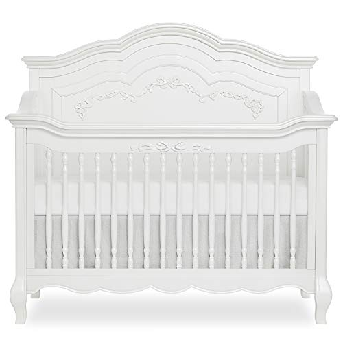 Evolur Aurora Deluxe Edition 5 in 1 Curved Convertible Crib I Fairytale Nursery, Frost
