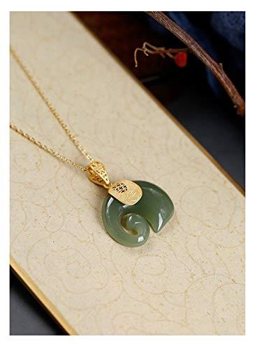 WWWL Collar Vintage Blanco Hetian Jade Sapphire Elefante Colgante Collar de señora Acero Inoxidable 18k Joyería de Cadena chapada en Oro para Mujeres (Gem Color : Sapphire)