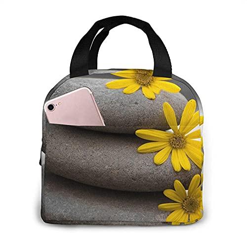 Fiambrera gris piedra y flores amarillas Bolsa de asas Fiambrera Fiambrera con aislamiento Fiambrera para mujer Hombre