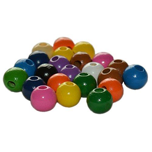 Piccolino Bastelbedarf Holz Perlen bunt 12mm zum Auffädeln für Kinder - Ketten basteln - farbig Sortiert, 50 Stück
