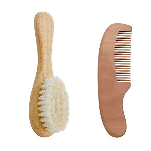 Yban - Cepillo de pelo y peine para el cabello de madera de seda natural para bebé, cepillo de pelo de cabra, personalizable natural para el tratamiento de la cuna recién nacido