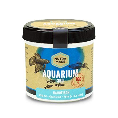 Nutramare Aquarium360 Nanofisch 250ml   Hochwertiges Fischfutter für Minifische, Granulat mit Spirulina