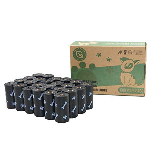 Green Maker Biodegradables Caca Perro Bolsas 360 Excrementos Perros Bolsas 30% más Grueso Que Otros Hecho de Almidón de Maíz con DIN CERTCO Certificación (Negro)