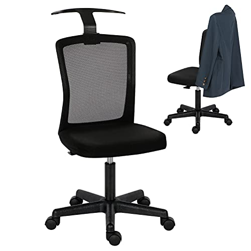 Office Desk Chair,Ergonomic Office Chair no Arms Swivel Desk Chair for Bedroom Adjustable Height Mesh Chair Home Office Chair with Hanger Computer Desk Chair for Kids/Adults,Removable Padded Seat