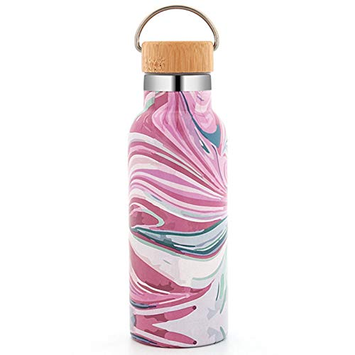 Water Bottle Thermos Insulated Stainless Steel Reusable Sports Water Bottle 500Ml/17Oz Keeps Hot and Cold Leakproof Lids with Lifting Loop,Pink