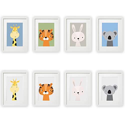 Kinderzimmer Bilder 4er Set Babyzimmer Poster DIN A4 | mit und ohne Hintergrund | für Mädchen & Jungen | Baby Tiere | farbig | Babyzimmer (#10)