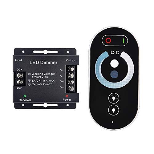 QYHOME 24V / 12V Stufenlose Touch-Dimmer/+ LED Fernbedienung Dimmer Steuerung Dimmer PWM bis 18A Regler Kontroller für LED Strip