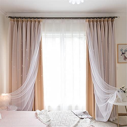 FACWAWF Estilo Coreano Simple Moderno De Doble Capa Hueco Cortina Estrellada Dormitorio Sala De Estar Balcón Estudio Cortina Opaca 200x270cm(2pcs)