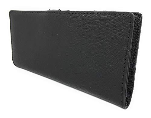 Jet Set Travel Flat Slim Bifold Saffiano Leather Wallet (Black)