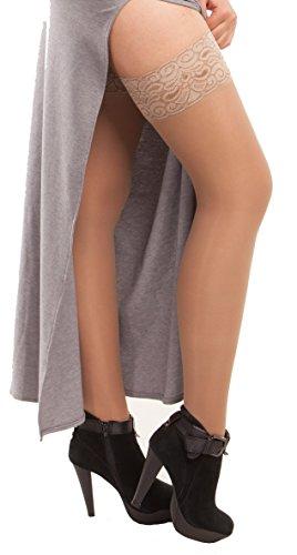 ITA-MED Sheer Compression 23-30 mmHg Thigh High Stockings Varicose Vein Nurse Hose Socks for Women, H-80 Small Beige