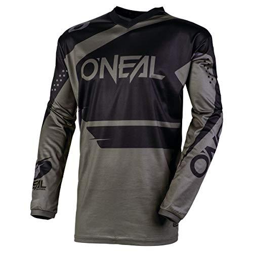 O\'NEAL | Motocross-Jersey Langarm | MX Enduro | Gepolsterter Ellbogenschutz, V-Ausschnitt, atmungsaktiv | Element Jersey Racewear | Erwachsene | Schwarz Grau | Größe L