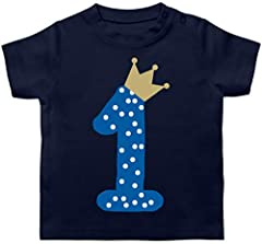 1er cumpleaños Corona Chico Camiseta de bebé Manga Corta
