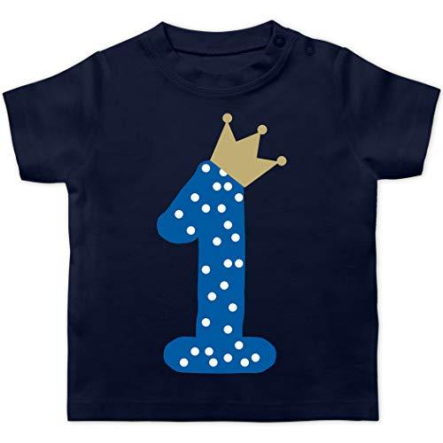 Geburtstag Baby - 1. Geburtstag Krone Junge Erster - 18/24 Monate - Navy Blau - 1. Geburtstag Junge - BZ02 - Baby T-Shirt Kurzarm