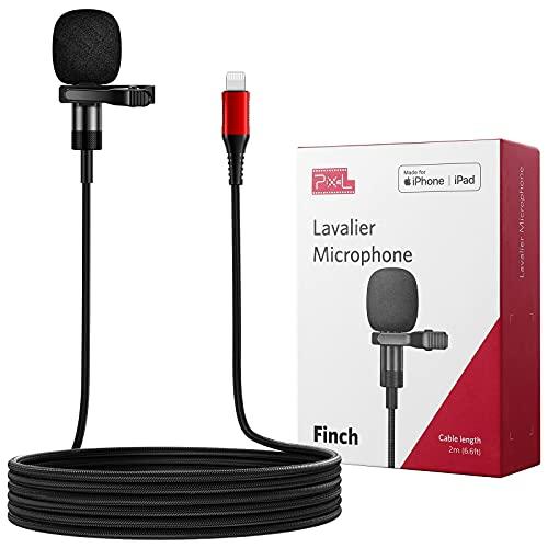 Pixel MFi Lavalier Mikrofon für iPhone/iPad, Omnidirektionales Aufnahme und HiFi-Klangqualität Ansteckmikrofon mit 2 M Kabel für YouTube Podcast Vlogs Videoaufnahme und Live-Videos