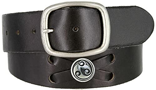 TB105-P3645-BS9171 Celtic Swirl Conchos Belt Genuine Full Grain Leather Belt 1-3/4' (45mm) Wide (Silver-Black, 36)