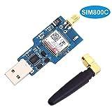 ARCELI Módulo inalámbrico SIM800C USB gsm GPRS Quad-Band, 850/900/1800 / 1900MHz, Compatible con CH340T USB Chip 2G 3G 4G Red USB Comunicación SMS Transmisión de Datos con Antena
