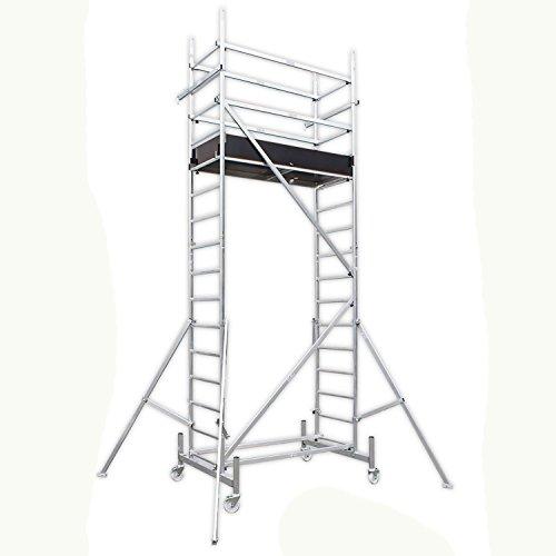 ALTEC Rollfix 500, Arbeitshöhe 5 m, inkl. Rollen (Ø 125 mm), Dreieckausleger und Wandanker, TÜV-geprüft,