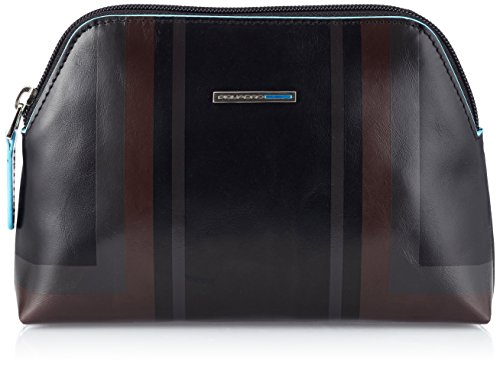 Piquadro Blue Square Beauty Case, Pelle, Nero, 18 cm