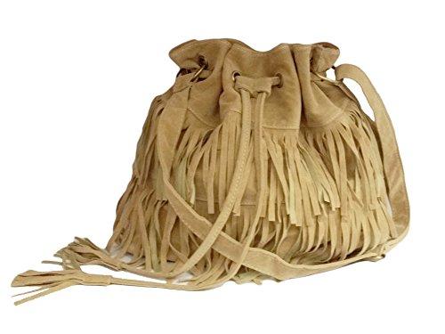La Loria alla moda frangia da donna Borsa a tracolla Milan Pouch Tasche borsa a tracolla in similpelle scamosciata con cerniera, marrone